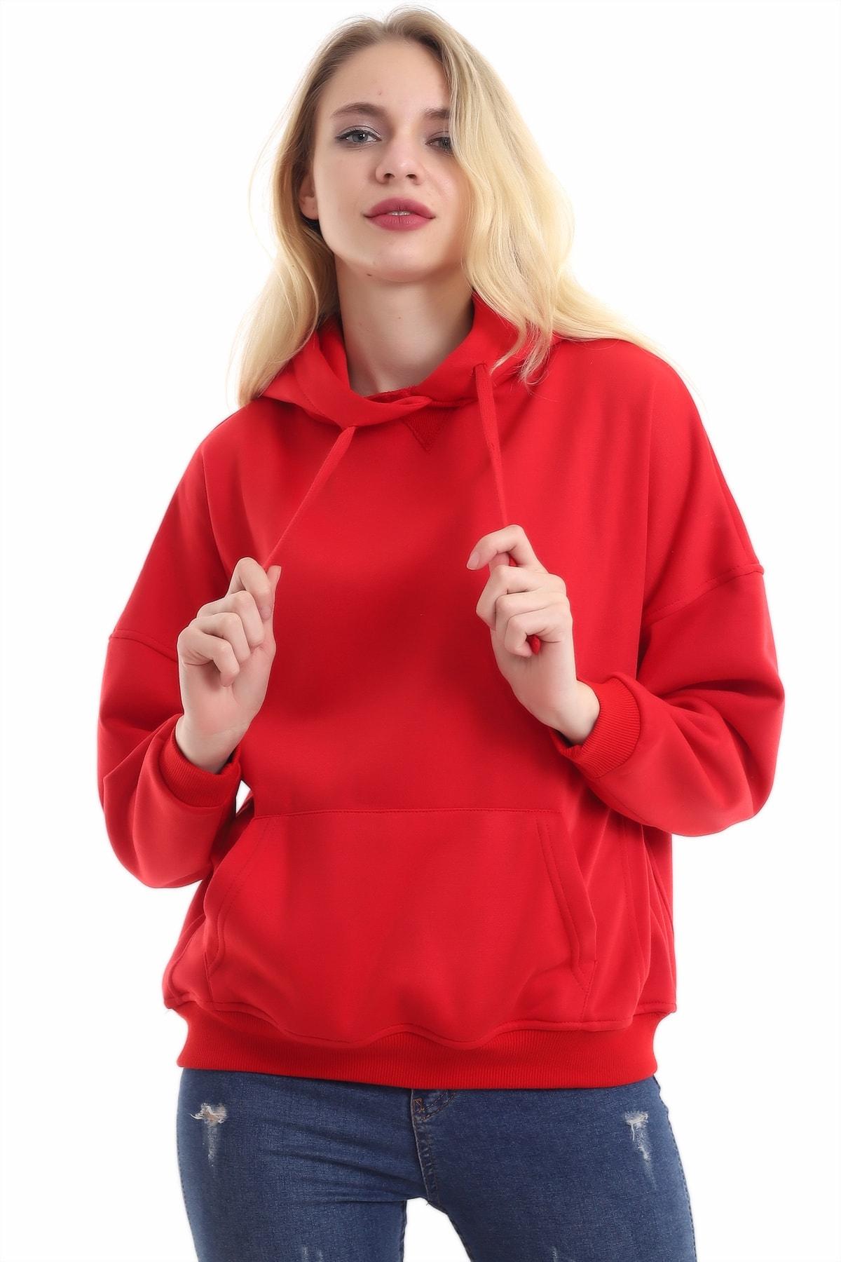 boffin Kadın Kırmızı İçi Pamuklu Oversize Sweatshirt 2