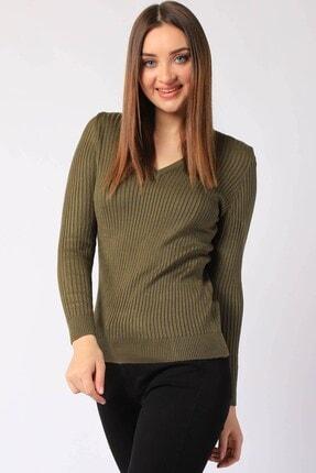 Twister Jeans Kadın Haki Fitilli V Yaka Triko 32809