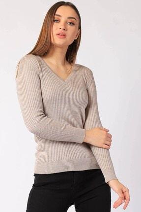 Twister Jeans Kadın Taş Renk Fitilli V Yaka Triko Kazak