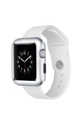 MobilCadde Dafoni Glass Guard Apple Watch Metal Kenarlı Silver Kılıf 38mm