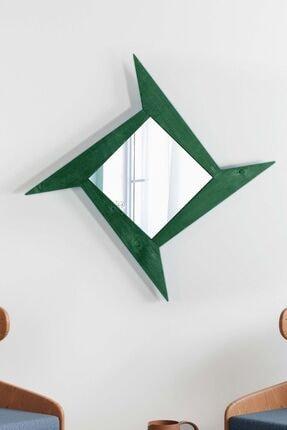 bluecape Doğal Masif 92 Cm Yıldız Yeşil Dekorlu Salon Ofis Mutfak Çocuk Yatak Odası Duvar Konsol Boy Aynası