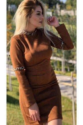 Sateen Kadın Kahverengi Nubuk Elbise