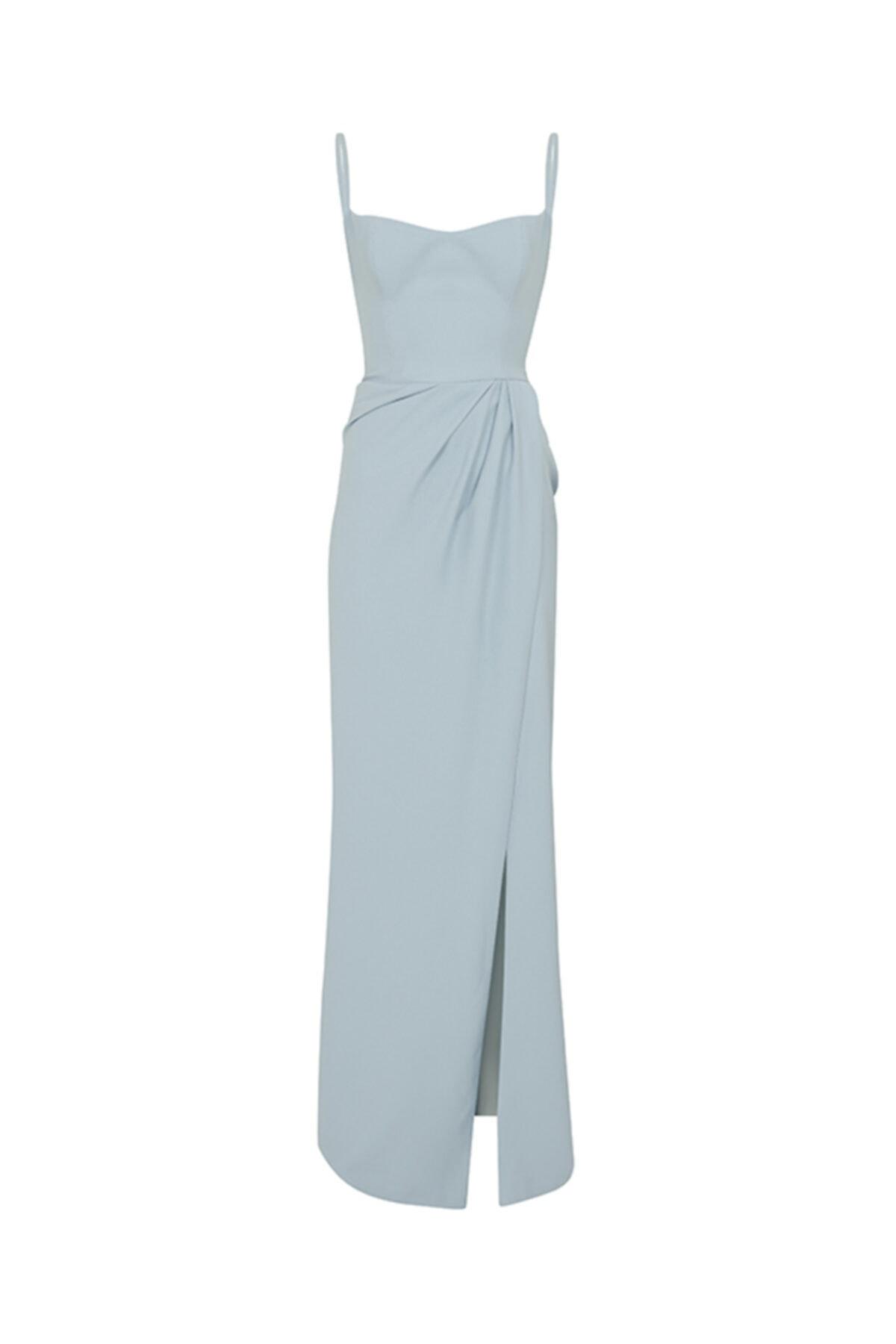 SAGAZA X ILKNUR Kadın Mavi Askılı Yırtmaçlı Elbise 1