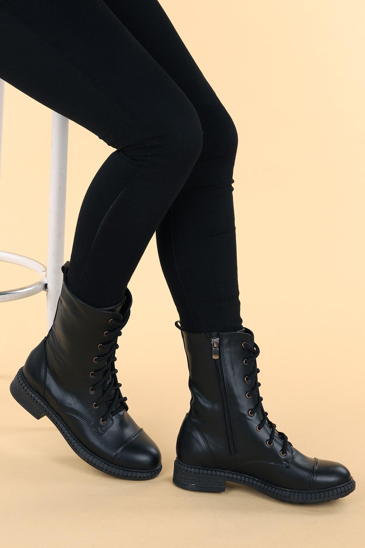 Ayakland Kadın Siyah Cilt Termo Taban Bot C901-01 2