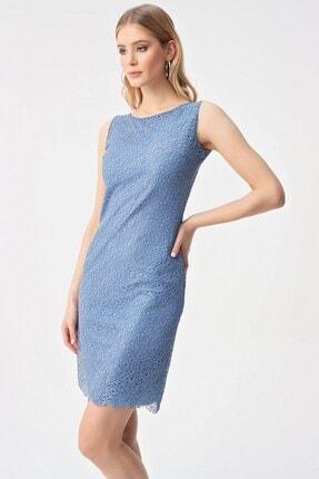 By Saygı Koyu Mavi Yuvarlak Yaka Dantelli Abiye Elbise