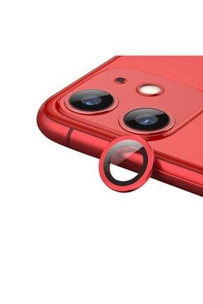 MobilCadde Iphone 11 Metal Kenarlı Cam Kırmızı Kamera Lensi Koruyucu