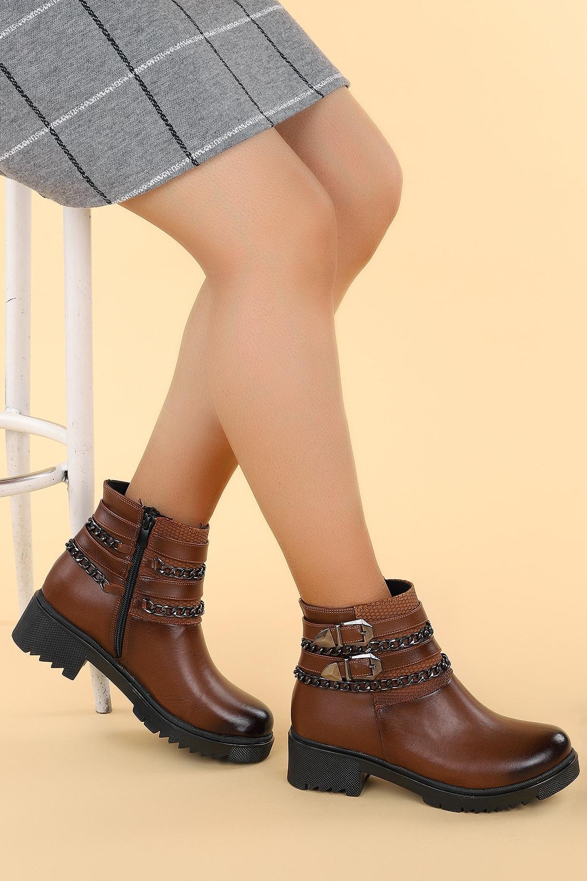 Ayakland Kadın Kahverengi Cilt Termo Taban Bot N1983-5005 1