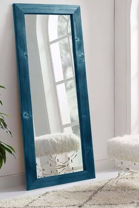 bluecape Doğal Ağaç Dikdörtgen Mavi Salon Ofis Mutfak Çocuk Odası Duvar Konsol Boy Aynası 58x148 Cm