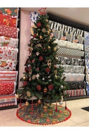 TUE HOME DİZAYN Çam Ağacı Örtüsü Geyik Desen Ponponlu