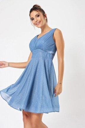 By Saygı Kadın Mavi Bel Dekolteli Abiye Elbise