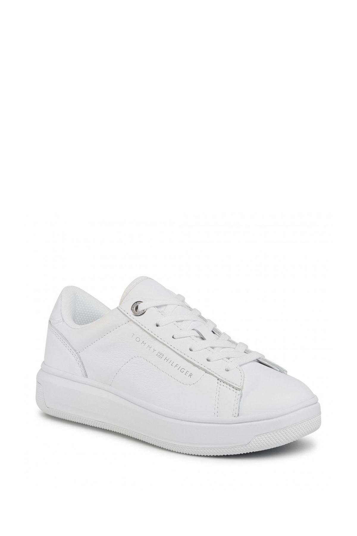 Tommy Hilfiger Kadın Beyaz Leather Cupsole Kadın Sneaker Fw0fw05009 1