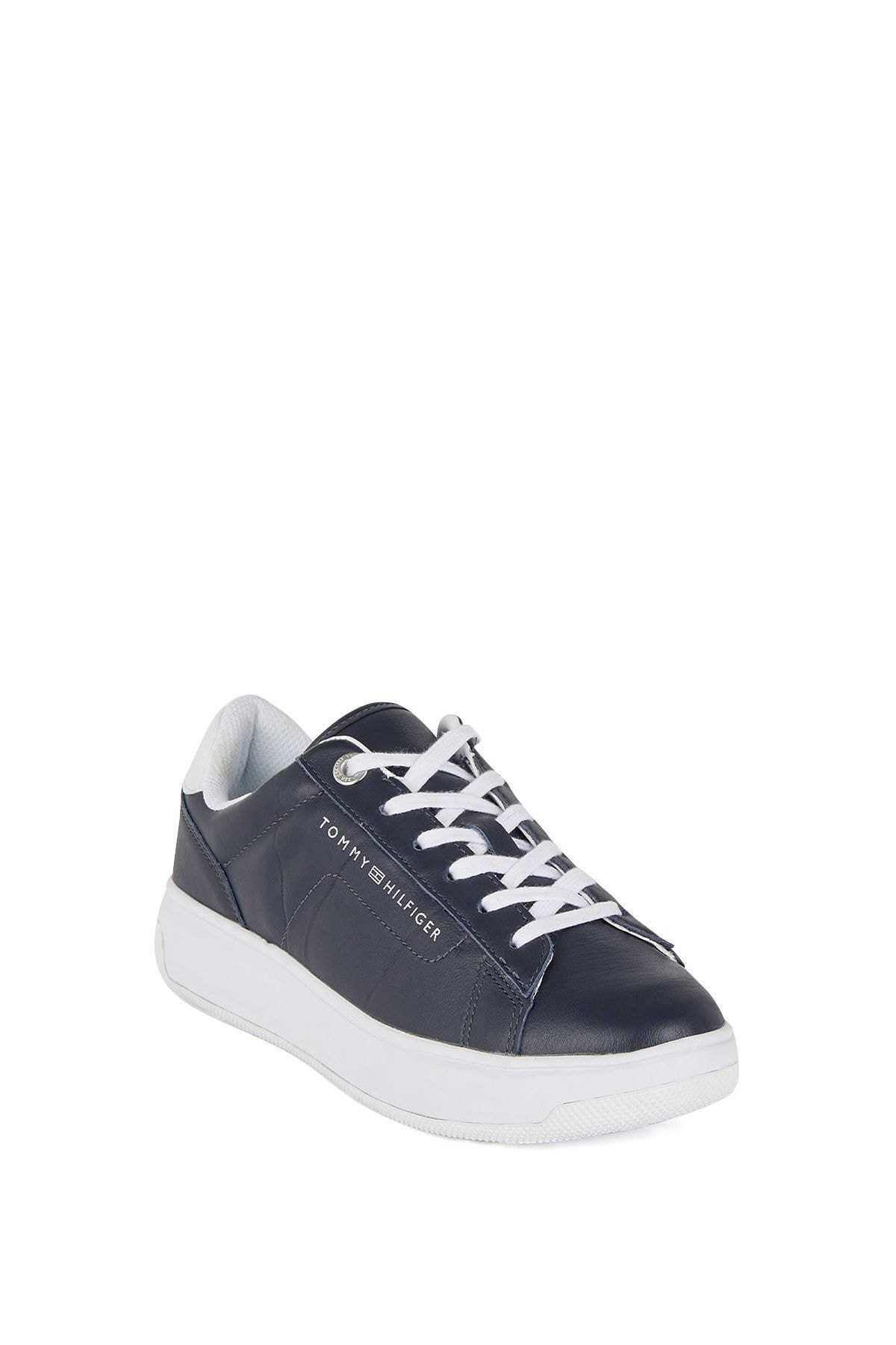 Tommy Hilfiger Kadın Siyah Leather Cupsole Kadın Sneaker 1