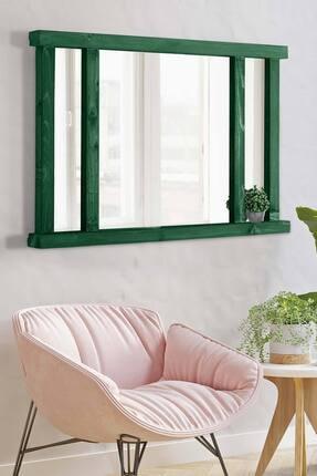 bluecape Doğal Ağaç Masif 90x60cm Alaçatı Yeşil Salon Ofis Mutfak Çocuk Odası Duvar Antre Konsol Boy Aynası