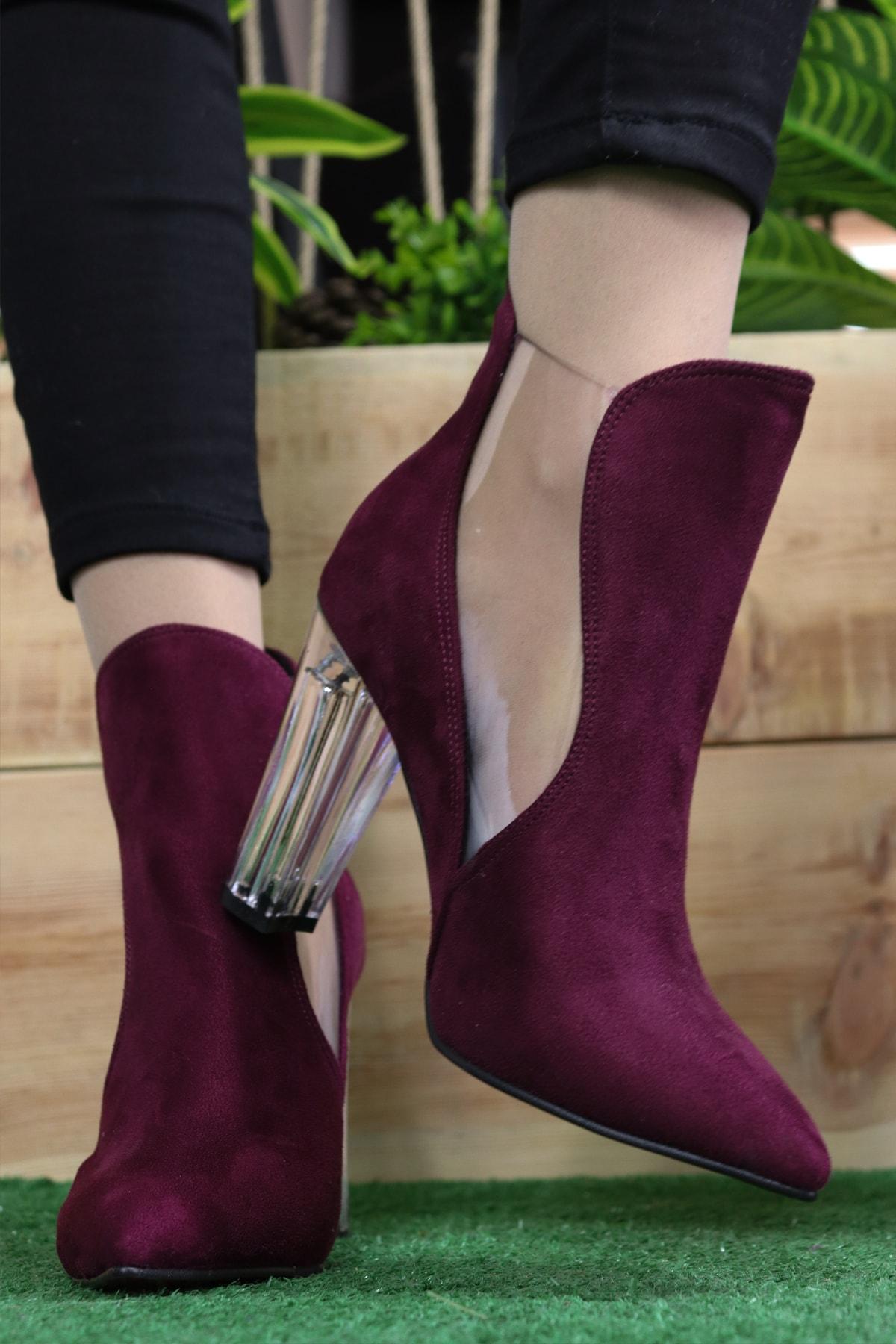 TrendEtiler Kadın Mor Yan Şeffaf Detaylı Suet Topuklu Çizme 1