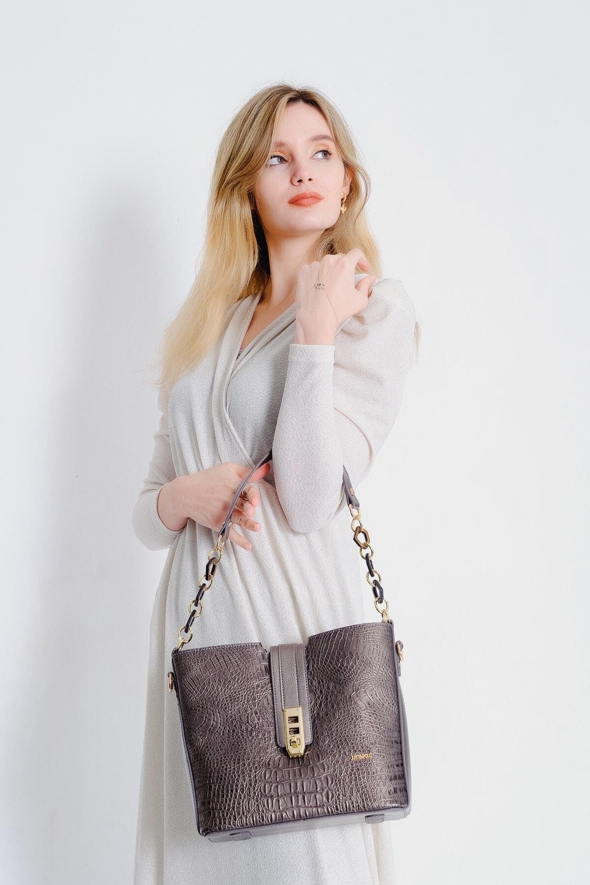 Just Polo Kadın Gümüş Kroko Desenli Kilit Detay Omuz Çantası J02104 1