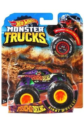 HOT WHEELS Psycho-delıc W/ Collectible Wheel Monster Trucks Dıecast 2018 (monster Jam)