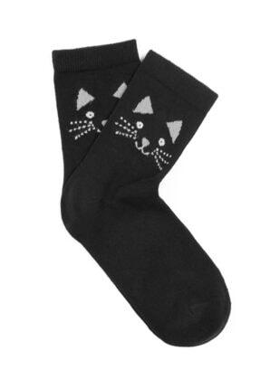 Mavi Kedi Baskılı Soket Çorap