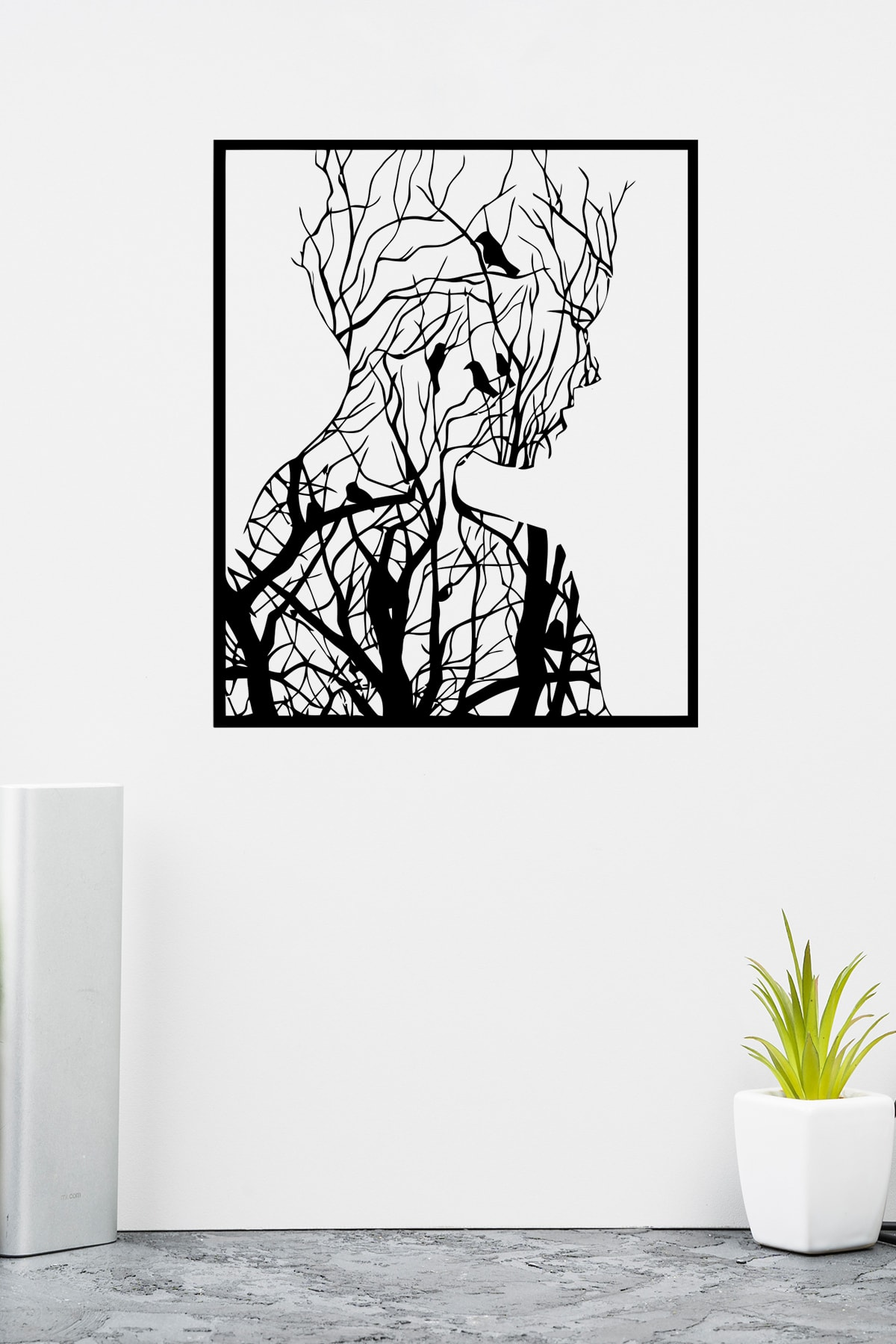 PAYİDARTS Ormandan Doğan Kadın Lazer Kesim Metal Duvar Tablo 70x87cm 2