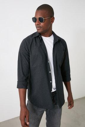 TRENDYOL MAN Siyah Erkek Melanj Oduncu Slim Fit Gömlek TMNAW20GO0523