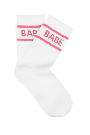 Mavi Babe Baskılı Soket Çorap