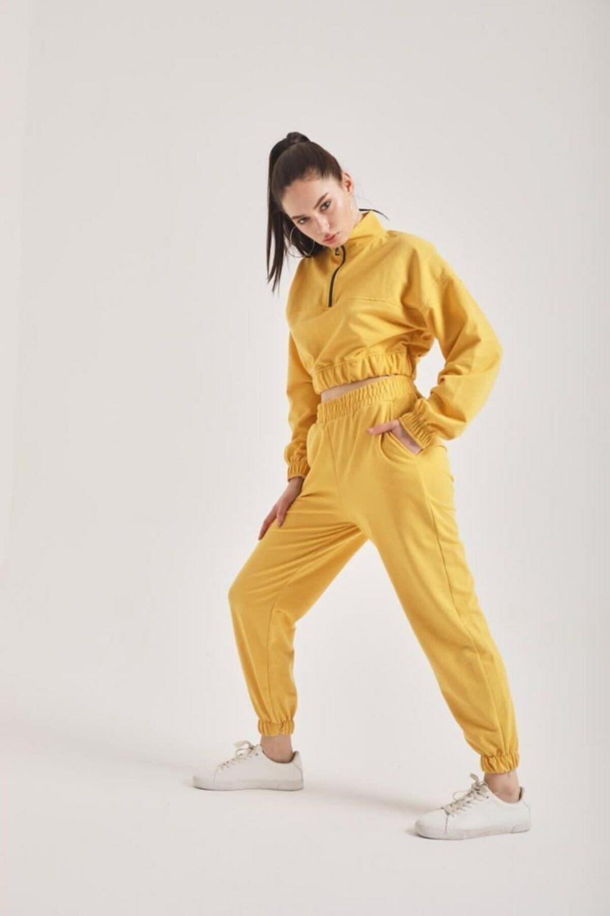 Heybe shop Kadın Sarı  2 İplik Eşofman Takımı 1