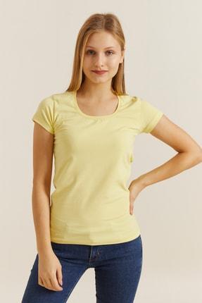 DYNAMO Kadın Açık Sarı Kare Yaka Likralı T-shirt 19060