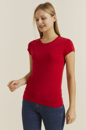 DYNAMO Kadın Kırmızı Bisiklet Yaka Likralı T-shirt 19061