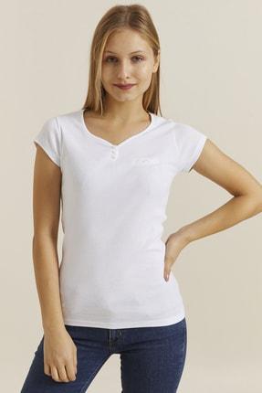 DYNAMO Kadın Beyaz Düğmeli Yaka T-shirt 30001