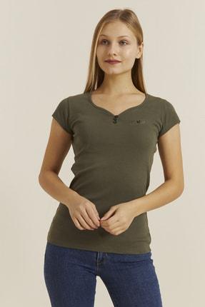 DYNAMO Kadın Haki Düğmeli Yaka T-shirt 30001