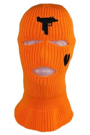 zirve şapka Kışlık Unisex 3 Gözlü Kar Maskesi Turuncu
