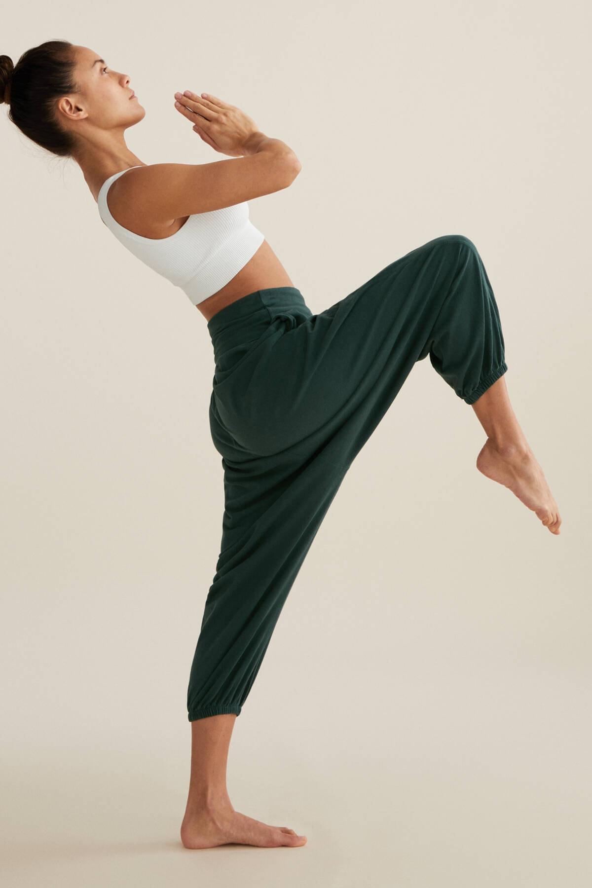 Oysho Kadın Koyu Yeşil %100 Organik Pamuklu Harem Pantolon