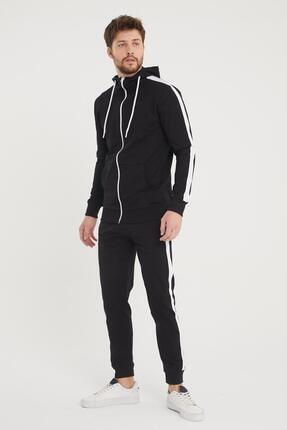 Giyenbilir Şeritli Kapüşonlu Eşofman Takımı Siyah