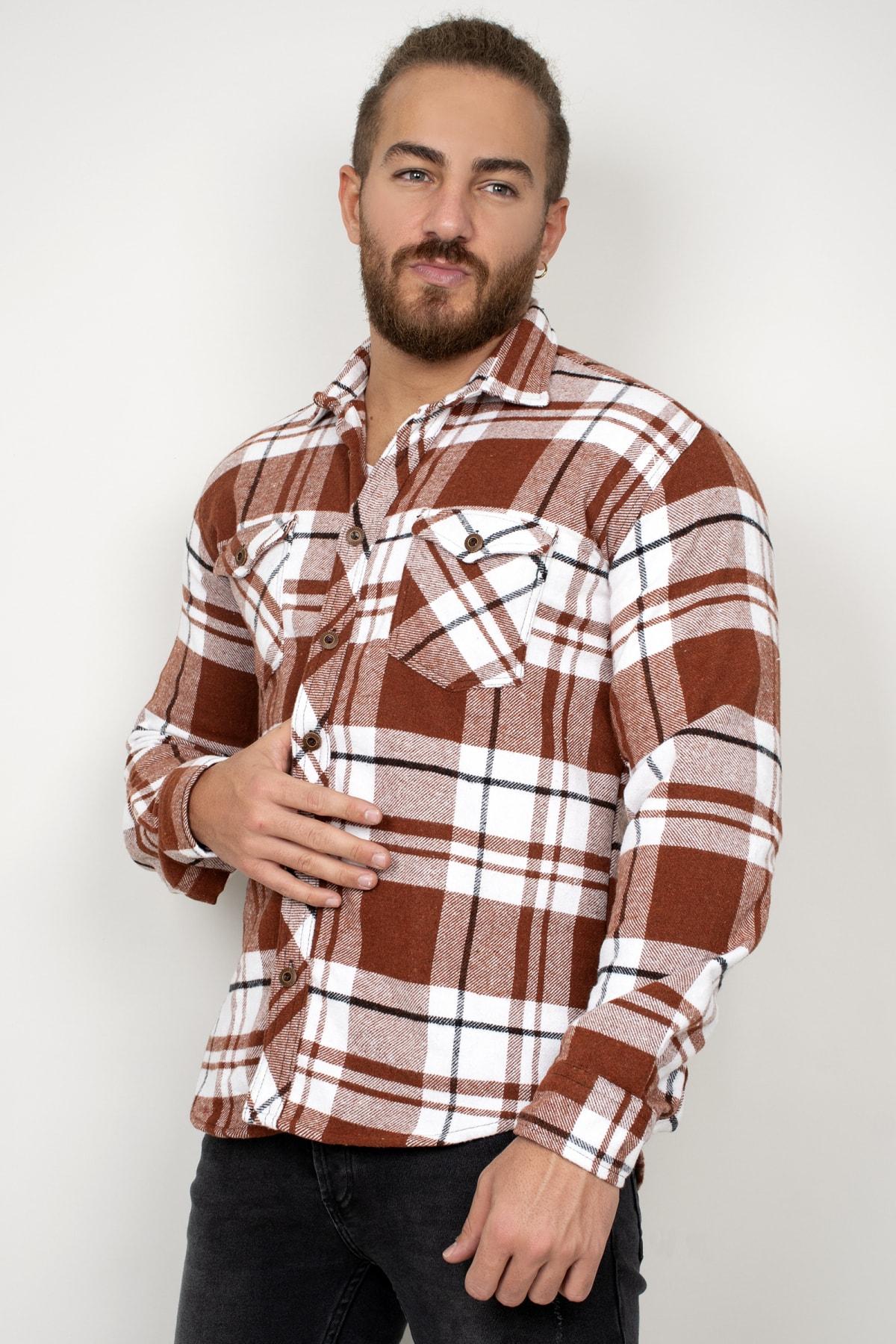DeepSEA Erkek Kiremit Cepli Uzun Kol Oduncu Gömlek 2101215 1