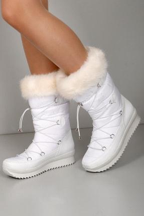 GÖNDERİ(R) Gön Beyaz Lastik Bağcıklı İçi Kürklü Kadın Kar Botu 30246