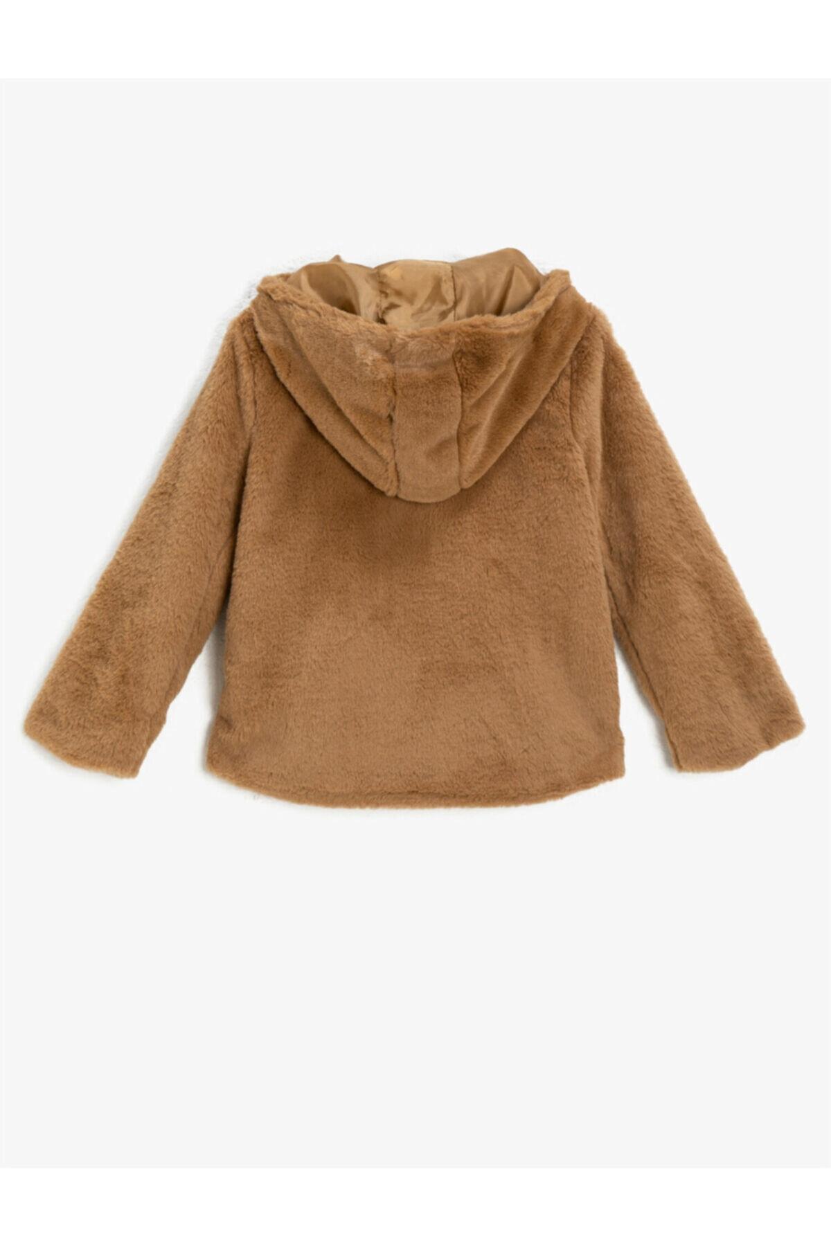 Koton Kız Çocuk Kahverengi Kapüşonlu Fermuarlı Peluş Mont 2