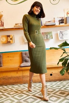 Olalook Kadın Haki Kemerli Kalın Fitilli Triko Elbise ELB-19001014