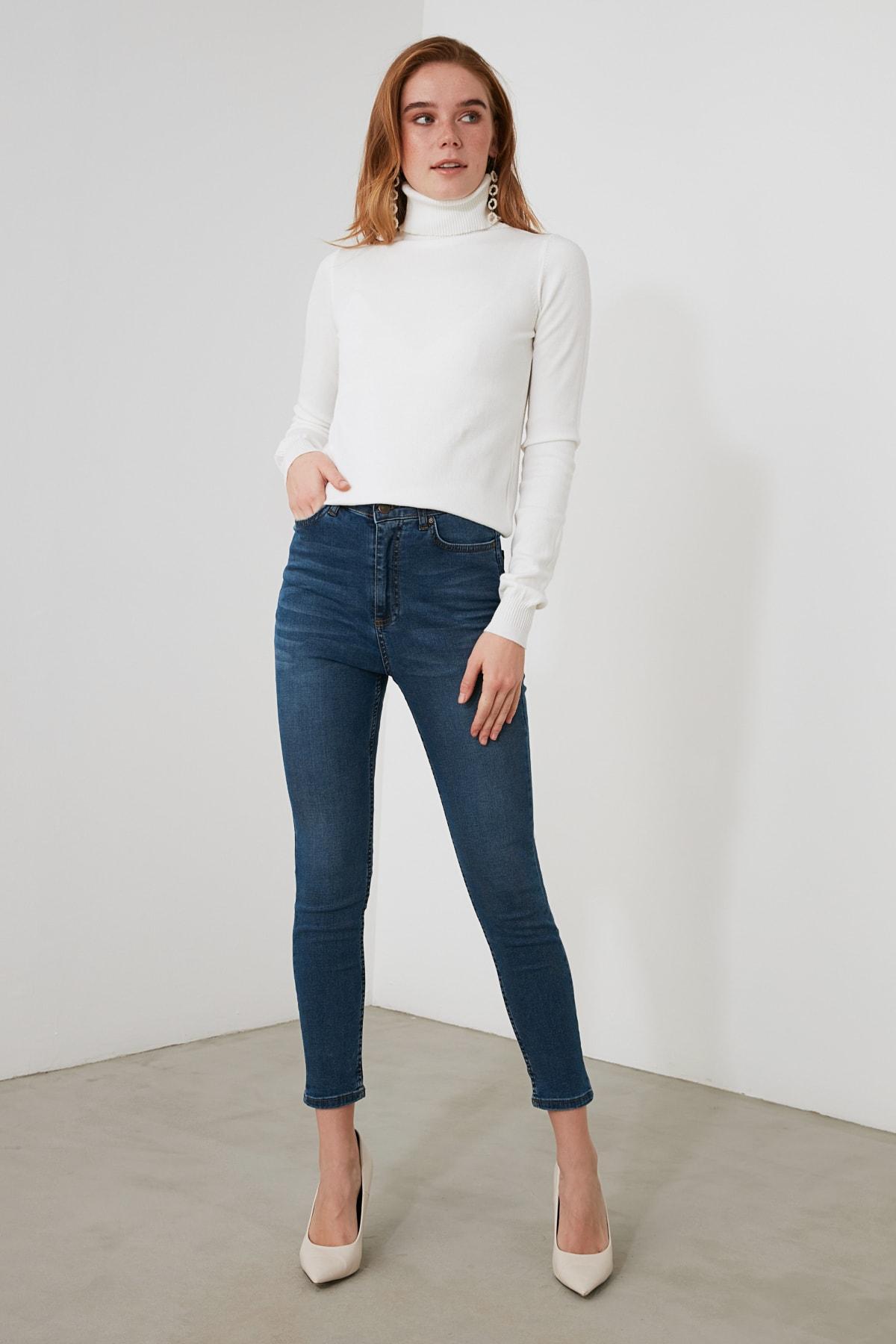 TRENDYOLMİLLA Mavi Yüksek Bel Skinny Jeans TWOAW21JE0794 2