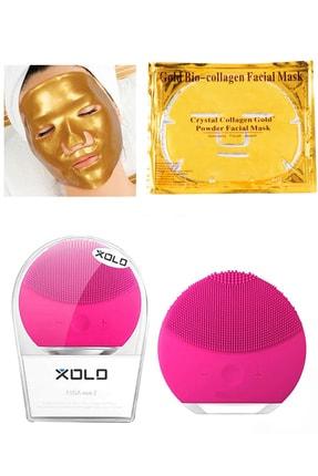 xolo Fuşya Şarjlı Yüz Temizleme Cihazı + Gold Bio Collagen Altın Yüz Maskesi 8133458903571