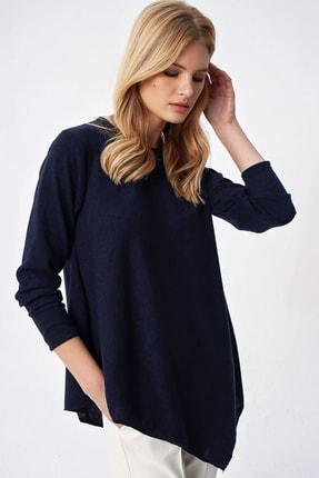 Trend Alaçatı Stili Kadın Lacivert Asimetrik Kesim Tunik ALC-X5261