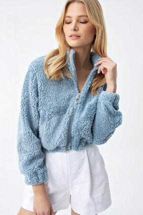 Trend Alaçatı Stili Kadın Mavi Premium Peluş Ceket ALC-X5184