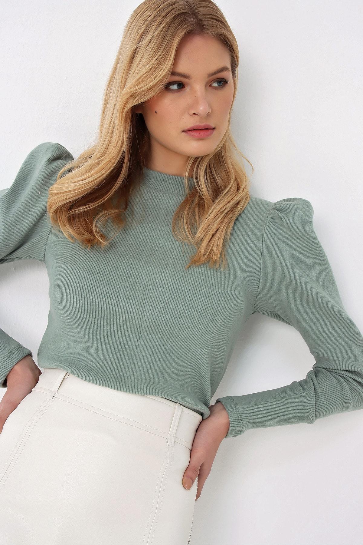 Trend Alaçatı Stili Kadın Çağla Yeşili Prenses Kol Yarım Balıkçı Şardonlu Crop Bluz ALC-X5042 2