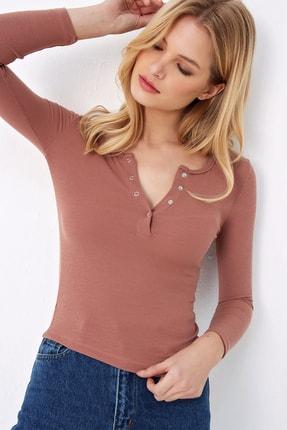 Trend Alaçatı Stili Kadın Gül Kurusu Çıtçıtlı Kaşkorse Bluz MDS-345-TR