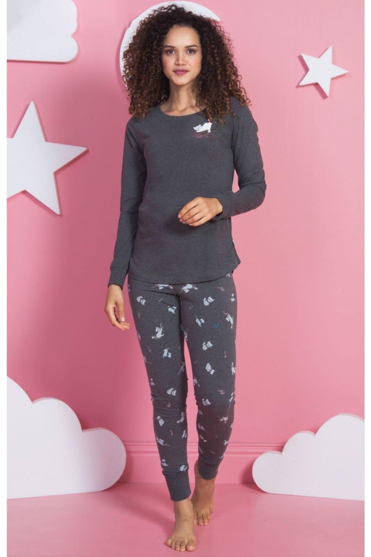 VİENETTA Kadın Antrasit Uzunkol Pijama Takımı 1