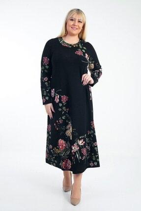 By Saygı Kadın Güllü Örme Krep Likra Elbise Siyah