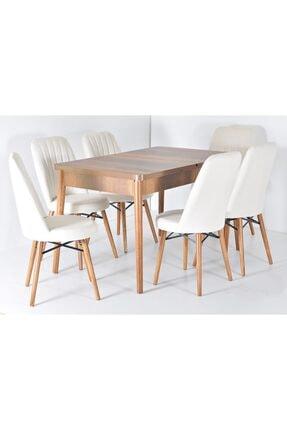 Kaktüs Avm Masa Sandalye Takımı 6 Kişilik Yemek Masası Salon Masası Masa Takımı Ahşap Masa