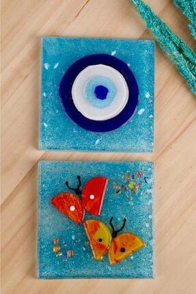 mozaikturk 2'li Nazar Boncuklu Cam Banyo Gider Süsü  10cm x 10cm