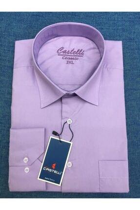 Castelli Erkek Mor Classic Büyük Beden Gömlek