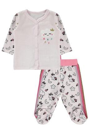 Kujju Kız Bebek Pijama Takımı 3-6 Ay Pembe