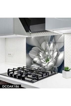 Olinpa Cam Ocak Arkası Koruyucu | Çiçek Desenli 60x52 cm