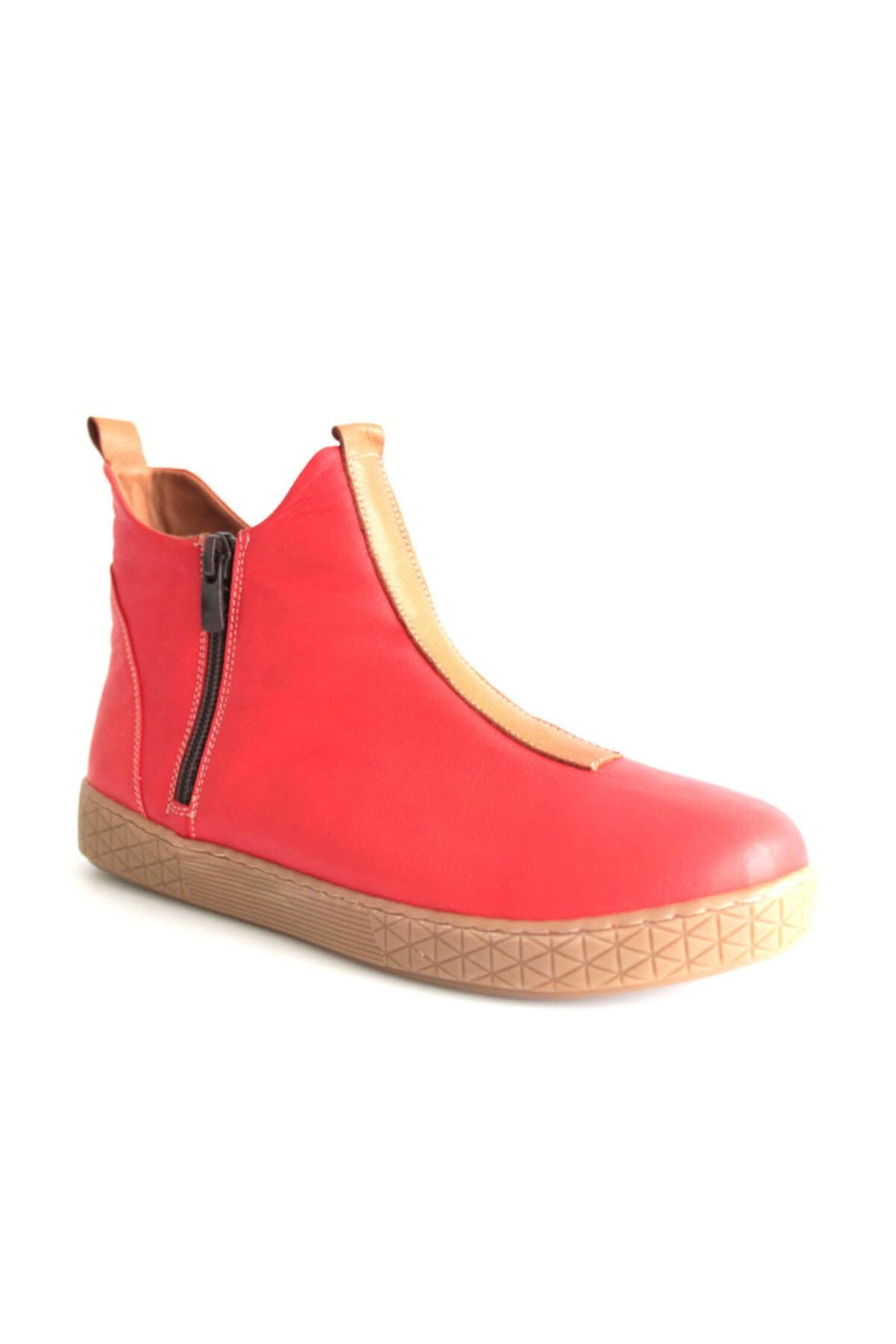 Beta Shoes Bot Hakiki Deri Kadın Kırmızı 1
